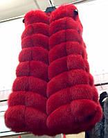 Стильная женская жилетка мех натуральный финский песец, цвет красный