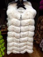 Стильная женская жилетка мех натуральный финский песец, цвет белый
