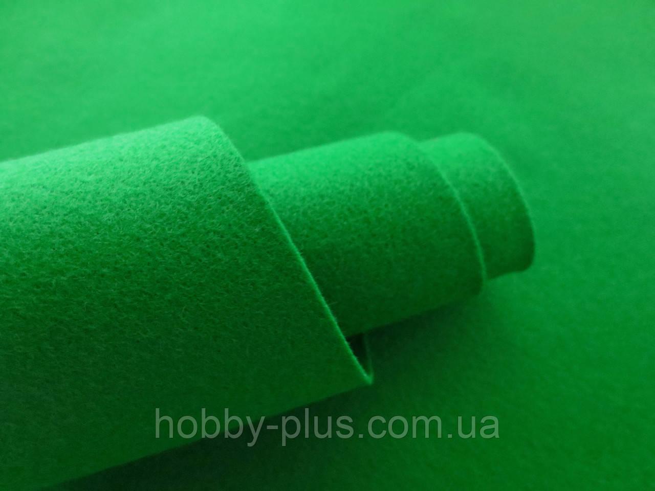 Фетр корейский мягкий, 1.2 мм, 20x30 см, ЗЕЛЕНЫЙ