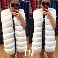 Красивая удлиненная женская жилетка мех натуральный финский песец, цвет белый