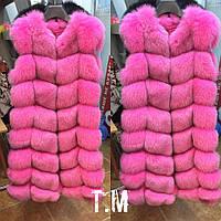 Красивая удлиненная женская жилетка мех натуральный финский песец, цвет малиновый