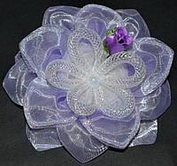 Бант на резинке, сиреневый, цветок из сетки, роза(2 шт) 21_3_260a1