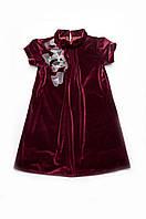 Детское нарядное платье для девочки бархат 116, бордо