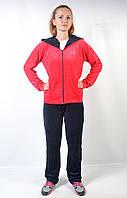 Женский брендовый спортивный костюм больших размеров - (красный-черный)