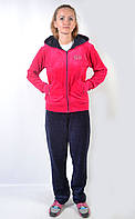 Женский брендовый спортивный костюм больших размеров - (синий-розовый)