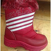 Сапожки дутики для девочки, недорогая детская зимняя обувь р.32-36