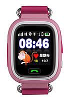 Розовые часы телефон Q100 ОРИГИНАЛ! сенсорный цветной экран, детские часы телефон GPS