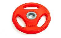 Фитнес памп (блины обрезиненные с хватом для штанги BP3031) 30 мм 1,25 кг PL26-1,25 (отв. d-30 мм, крас)