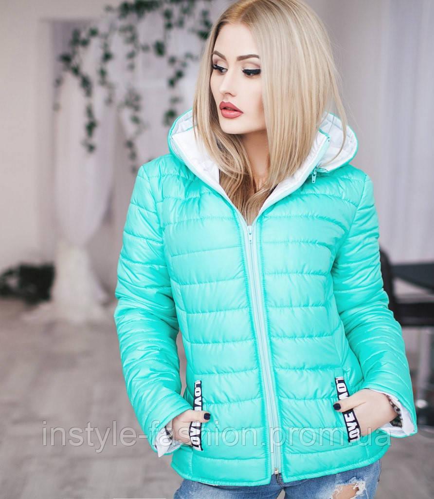 Женская курточка love с капюшоном на синтепоне цвет мята