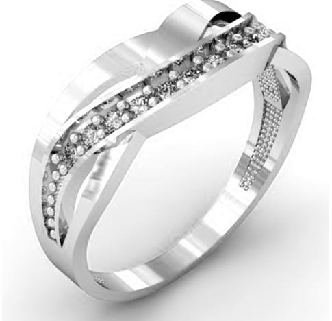 Серебряное кольцо Волны цирконий