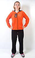 Женский брендовый спортивный костюм больших размеров - (черный/оранжевый)