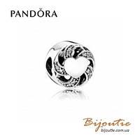 Pandora Шарм СЕРДЦЕ В ЛЕНТАХ #791976CZ серебро 925 Пандора оригинал