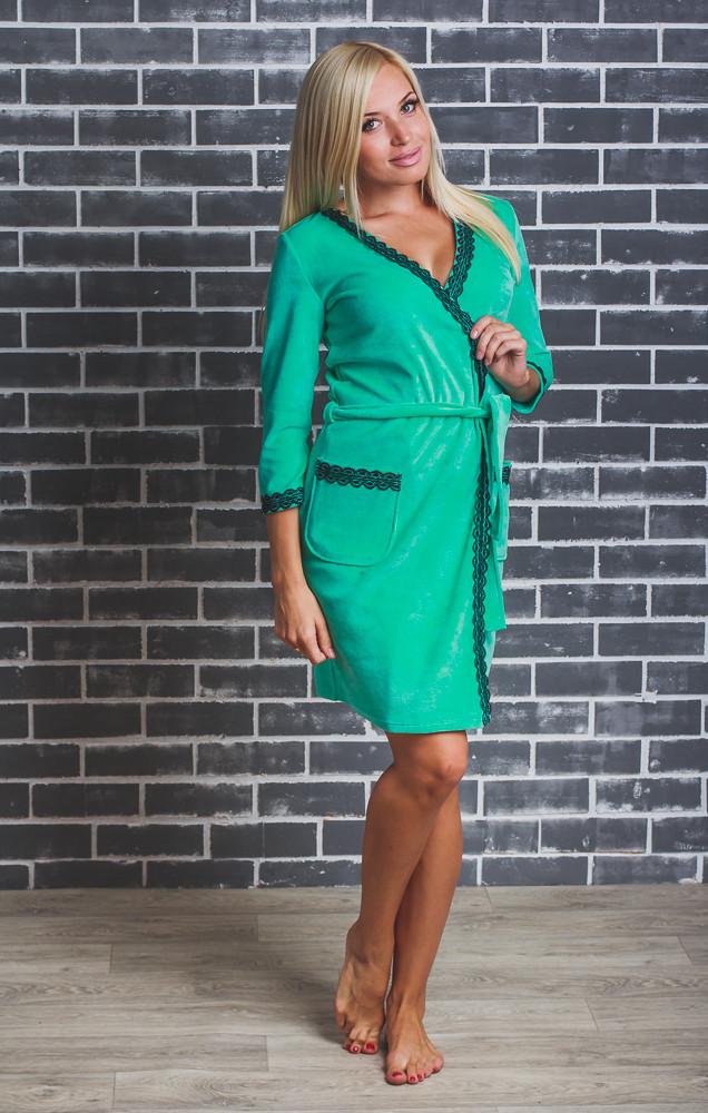 Женский  велюровый халат с поясом мята