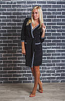 Женский  велюровый халат с поясом черный, фото 1
