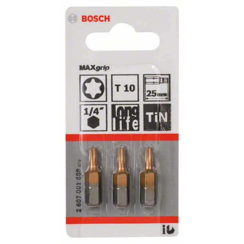3 биты Bosch 25мм TORX T10 TIN, 2607001688
