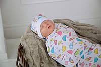 Детская пеленка кокон на липучках+шапочка, Зонтики, 0-3 мес