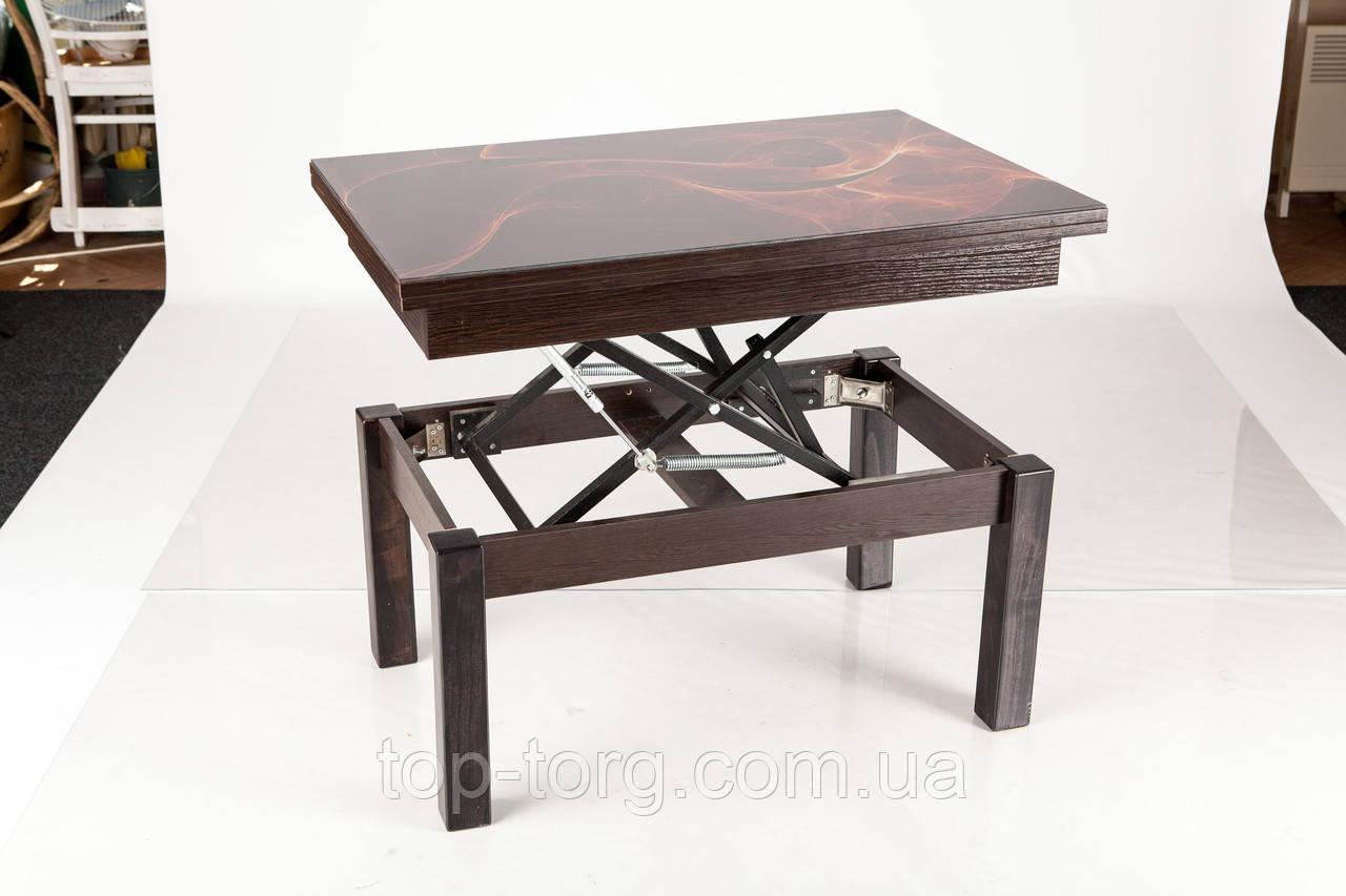 Стол трансформер со стеклом Флай (Fly) венге, темный орех