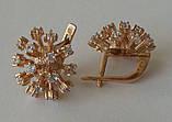 Серьги 27060ММ, золото 585 проба, кубический цирконий., фото 3