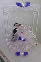 Свадебная статуэтка-качели на торт 15 см (27) бело-синяя