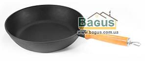 Сковорода чавунна глибока (сотейник) 260х60 мм з дерев'яною ручкою, посуд чавунна Эколит (Україна) 2660ДР