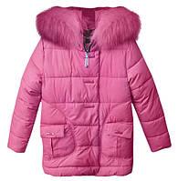 Детская зимняя куртка с мехом, р.122-146, розовая