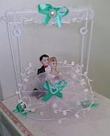 Свадебная статуэтка-качели на торт 15 см (28) бело-мятная