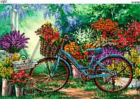 Схема для вышивки бисером Велосипед  с цветами