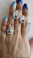 Серебряное кольцо + серьги с золотыми пластинами