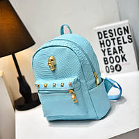 Голубой женский рюкзак с черепом из кожзама под кожу питона
