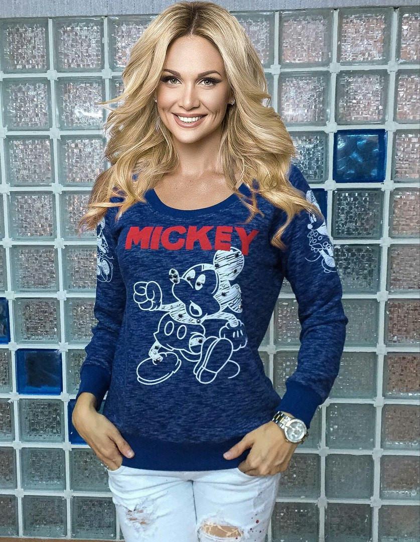 "Свитшот женский синий с принтом ""Mickey"""