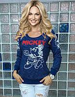 "Свитшот женский синий с принтом ""Mickey"" , фото 1"
