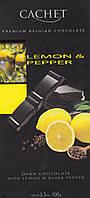 Черный шоколад Cachet «Lemon & Pepper» с лимоном и перцем  100г