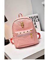 Розовый женский рюкзак с черепом из кожзама под кожу питона