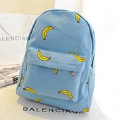 Блакитний міський рюкзак з бананами