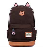 Стильный городской рюкзак коричневый с ушками