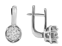 Серебряные родированные серьги  с фианитом на английском замке с00052