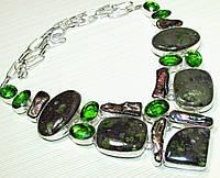 Колье из натуральных камней - ОКЕАНИЧЕСКАЯ ЯШМА, ЖЕМЧУГ БИВА (КЕШИ), КВАРЦ