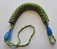 Страховочный, пистолетный шнур (пружинка)  сине-жёлтый