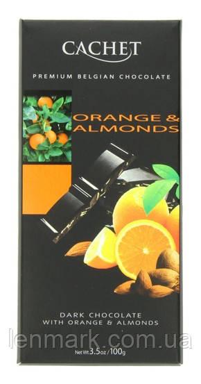 Черный шоколад Cachet «Orange & Almonds» с миндалем и апельсином 100г