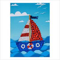 """Мозаика с пайетками и пинсами """"Кораблик"""""""
