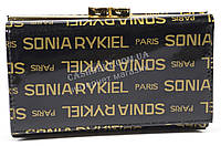 Лаковый компактный женский кожаный кошелек высокого качества SONIA RYKIEL art. SR-21490-A черн надписи, фото 1