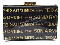 Лаковый компактный женский кожаный кошелек высокого качества SONIA RYKIEL art. SR-21492-A черн надписи