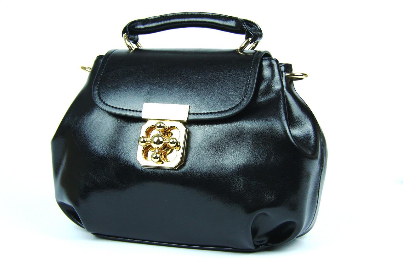 Черная маленькая кожаная сумка, кроссбоди - Интернет-магазин рюкзаки и сумки  Авось Ка в f40c812ee05