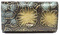 Тисненый женский кожаный кошелек высокого качества H.VERDE  art. 2345-D14 тисненые цветы