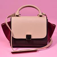 Бордово-бежевая кожаная сумка в стиле Celine Trapeze