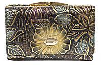 Тисненый женский кожаный кошелек высокого качества H.VERDE  art. 2103-D14 тисненые цветы