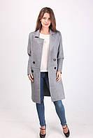 Оригинальное кашемировое женское пальто с карманами классика (серый)