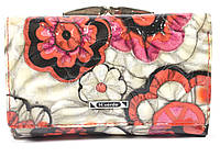 Стильный женский кожаный кошелек высокого качества H.VERDE  art. 2103-D59 цветы реплилия