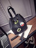 Черная женская сумка мешок, торба