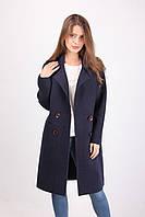 Кашемировое женское пальто с карманами классика (темно-синий)